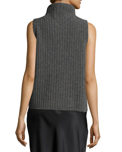 Sleeveless Turtleneck Pullover Sweater