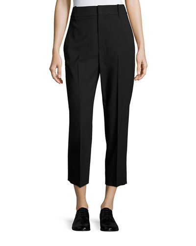 High-Rise Wool Crop Trousers