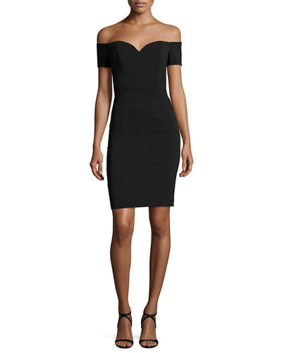 Badgley Mischka Collection Off-the-Shoulder Crepe Cocktail Sheath