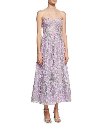 f21fa78bf84 Marchesa Notte Strapless 3D Floral Cocktail Dress