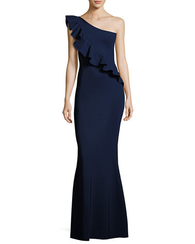 Custom Collection: Marine One-Shoulder Ruffle Gown