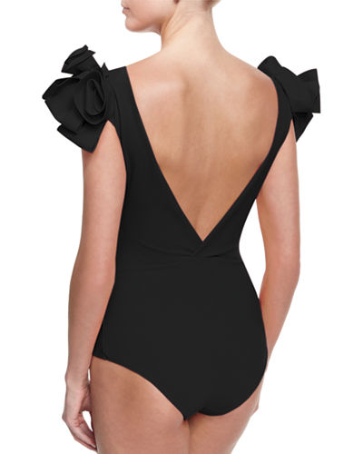 Belvisette V-Neck Two Rose One-Piece Swimsuit