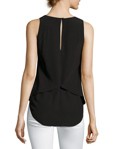 Zabetha Sleeveless Georgette Back-Wrap Shell Top