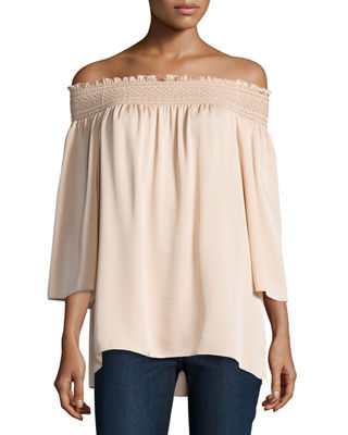 Theory Woman Smocked Off-the-shoulder Silk Off-the-shoulder Smocked Silk Top Cream Size M Theory