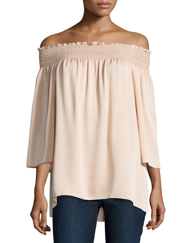 Cheap Reliable Theory Woman Smocked Off-the-shoulder Silk Off-the-shoulder Smocked Silk Top Cream Size M Theory Buy Cheap For Nice Nvtp99iuik