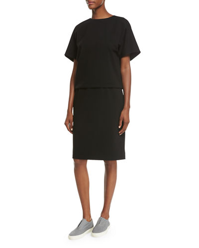 Short-Sleeve Punto Milano Bloussant Dress