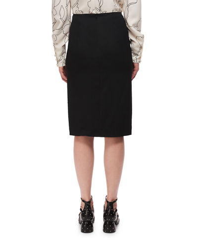 High-Rise Deconstructed Pencil Skirt w/ Ruffle