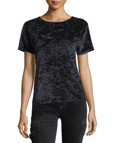 Velvet Crewneck Short-Sleeve Easy Tee