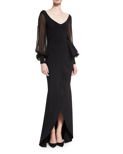 7e3c0a92c0b Chiara Boni La Petite Robe Rosellina Bishop-Sleeve Ruffled Evening Gown