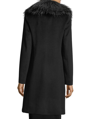Wrap Coat with Silver Fox Collar