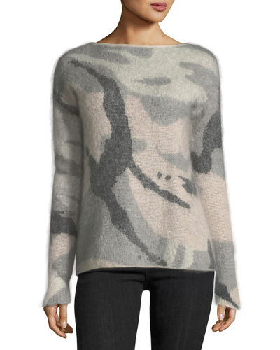 Sinclair Boat-Neck Camo Wool-Blend Sweater