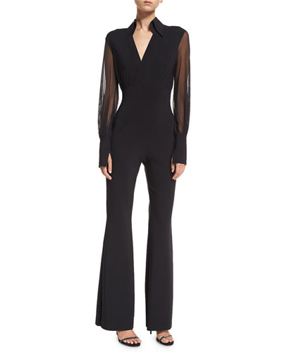 Agos Sheer-Sleeve Surplice Flared Jumpsuit