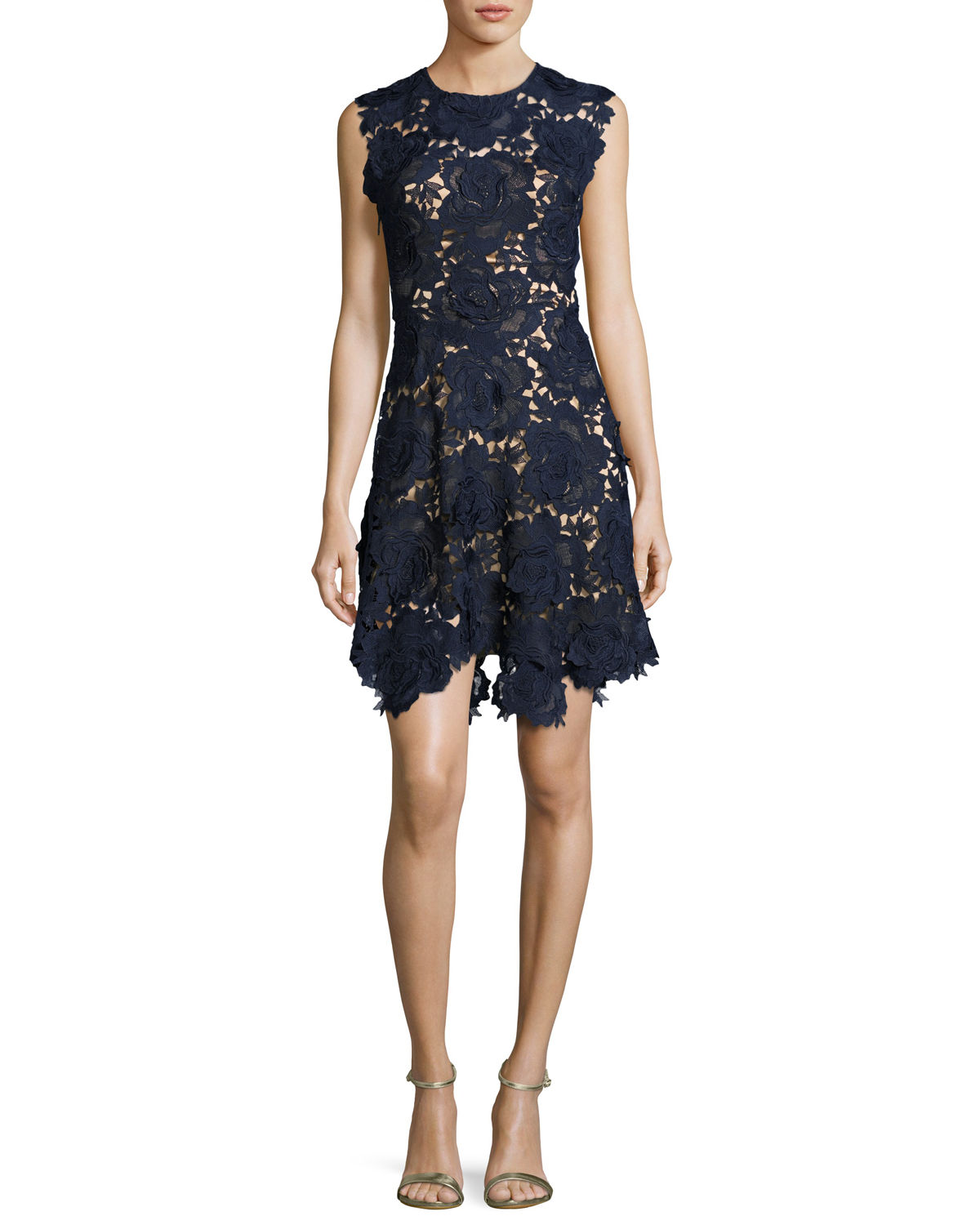 Cap-Sleeve Lace Fit & Flare Dress