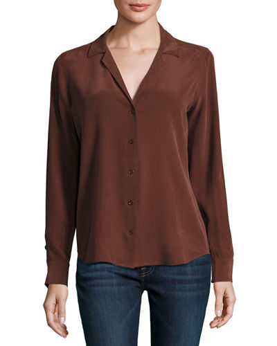 Adalyn Silk Long-Sleeve Blouse