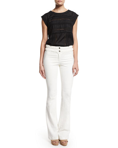 Biscayne Braided-Waist Boot-Cut Jeans