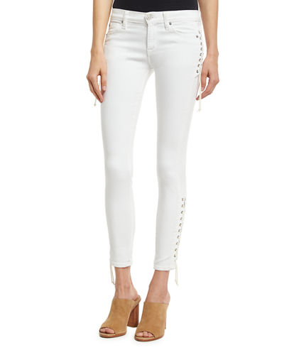 Suki Lace-Up Mid-Rise Skinny Ankle Jeans