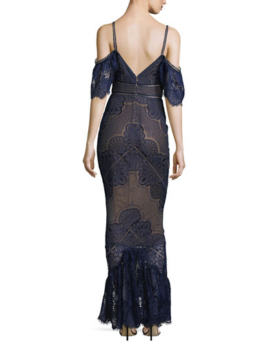 430f68a3 Marchesa Notte Cold-Shoulder Fitted Guipure Lace Evening Gown