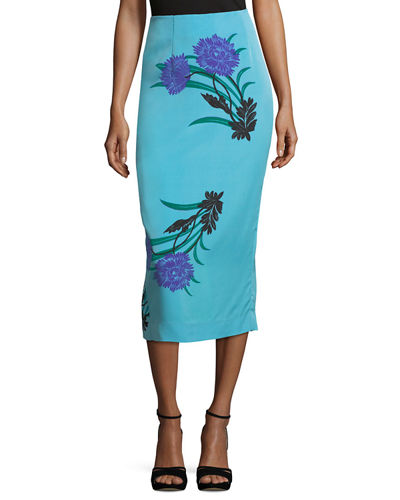 Leopard-Print Tailored Midi Pencil Silk-Blend Skirt