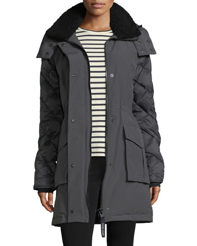 Elwin Hooded Parka Jacket W/ Removable Shearling Collar