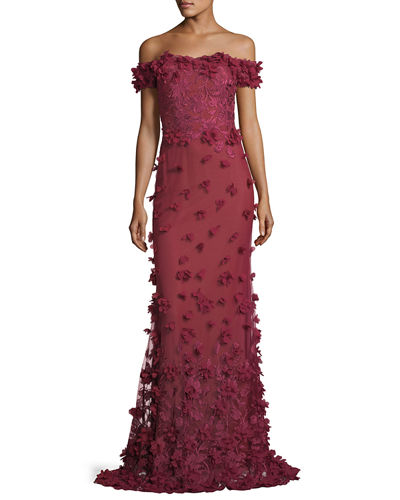 Off-the-Shoulder Column Evening Gown w/ 3D Petals