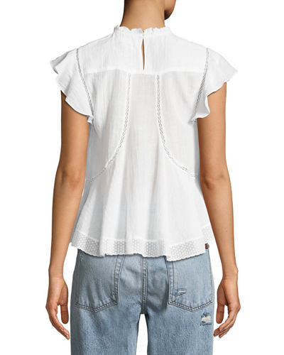 Vivia Sleeveless Cotton Blouse with Lace Trim