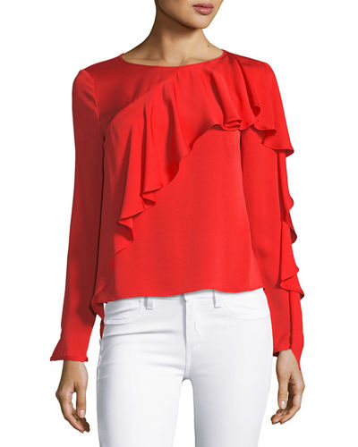 Stretch Silk Cascade-Sleeve Top