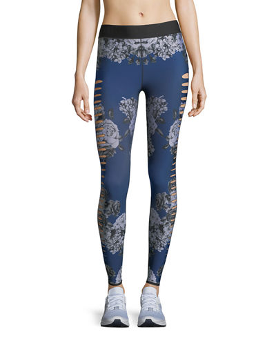 Ultra-Silk Slash Posey Floral-Print Leggings