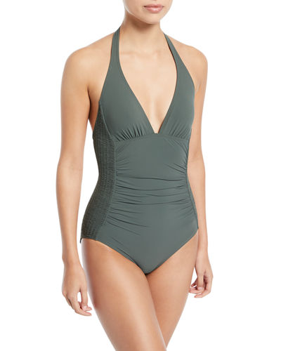 Waterfall Solids Smocked Halter One-Piece Swimsuit