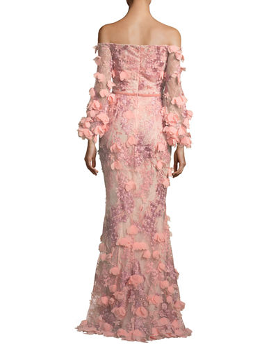 Off-the-Shoulder 3D Floral Mermaid Evening Gown