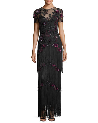 Short-Sleeve Illusion Fringe Column Gown