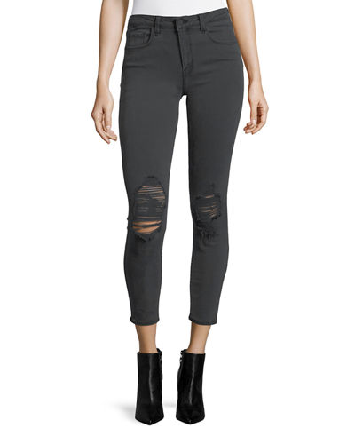 Margot High-Rise Skinny Ankle Jeans with Holes