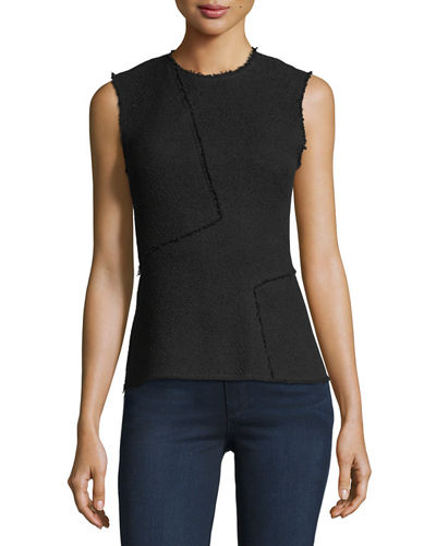 Spring Boucle Seamed Shell Top