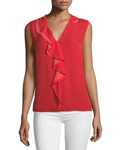 Adreena Asymmetric Silk Ruffle Blouse