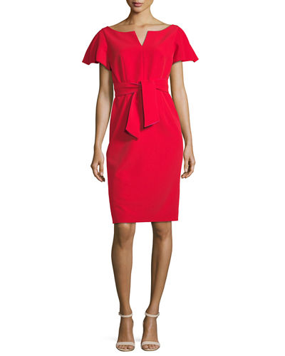 Tina Ruffle-Sleeve Sheath Dress