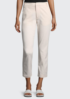 Coin-Pocket Straight-Leg Cropped Chino Pants, Rosewater