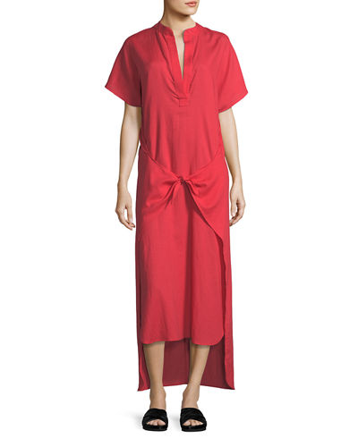 Tie-Front Slit-Neck Short-Sleeve Long Poplin Dress
