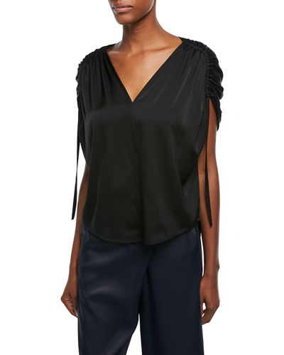 Ruched Short-Sleeve V-Neck Satin Blouse