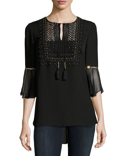 Elie Tahari Silk Embellished Blouse Clearance Discount Collections 2018 New Cheap Price VzOyy
