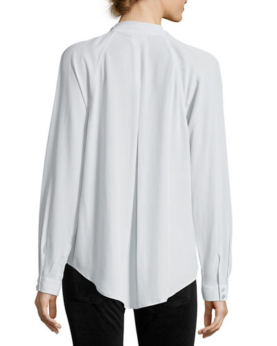 Liana Long-Sleeve Pleated-Front Silk Blouse
