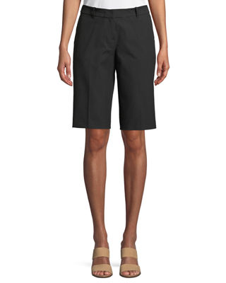 Manhattan Techno-Stretch Twill Slim Bermuda Shorts, Black