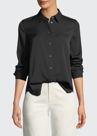 Slim-Fit Long-Sleeve Stretch-Silk Blouse