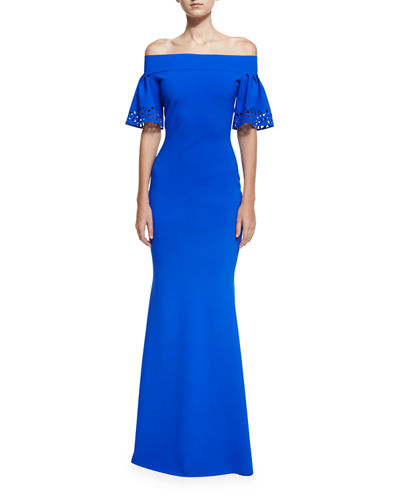 Amice Short-Sleeve Jersey Off-the-Shoulder Gown