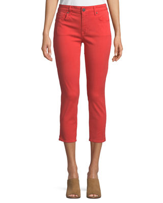 PARKER SMITH Pedal Pusher Cropped Straight-Leg Jeans In Sunburst