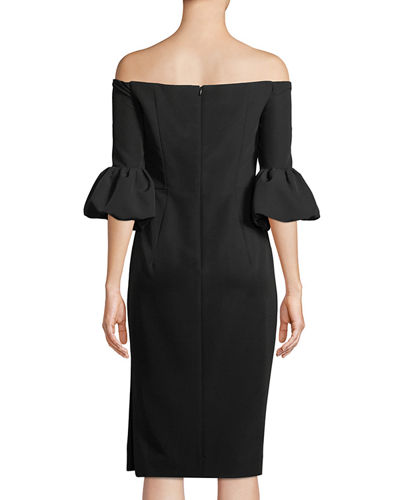 Gia Italian Cady Off-the-Shoulder Dress