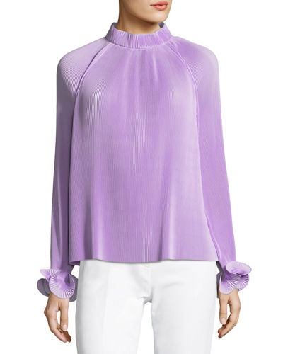 Mock-Neck Long-Sleeve Pleated Top