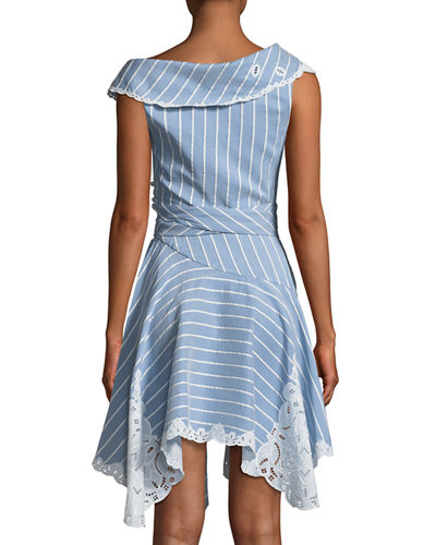One-Shoulder Striped Mini Wrap Dress w/ Cutout Embroidery