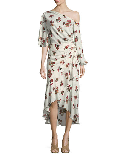 Florence One-Shoulder Ruched Ruffled Silk Dress