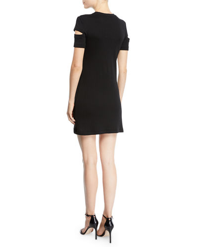 Wide-Rib Crewneck Cutout-Sleeve Dress