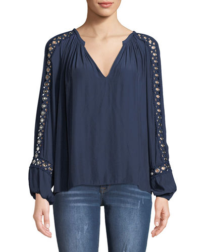 Sera V-Neck Long-Sleeve Blouse with Grommet Trim