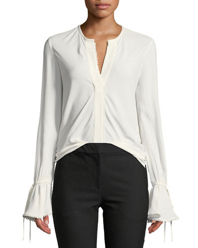 Bell-Sleeves Button-Down Blouse with Scalloped Trim